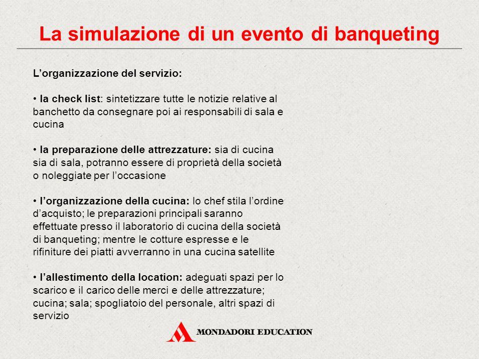 La simulazione di un evento di banqueting L'organizzazione del servizio: la check list: sintetizzare tutte le notizie relative al banchetto da consegn