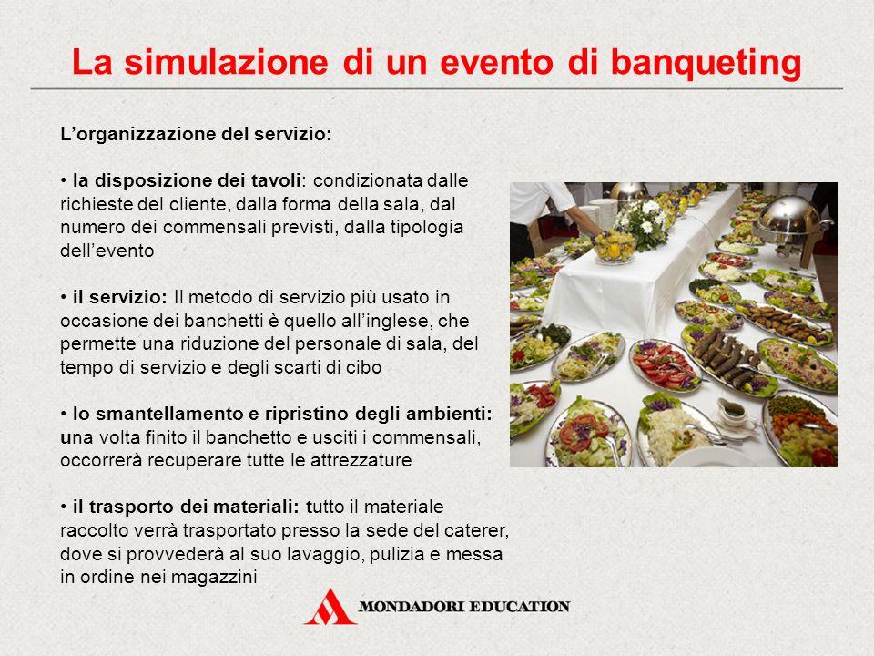 La simulazione di un evento di banqueting L'organizzazione del servizio: la disposizione dei tavoli: condizionata dalle richieste del cliente, dalla f