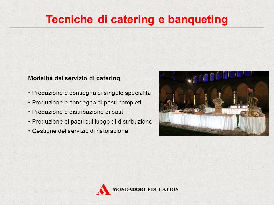 Modalità del servizio di catering Produzione e consegna di singole specialità Produzione e consegna di pasti completi Produzione e distribuzione di pa