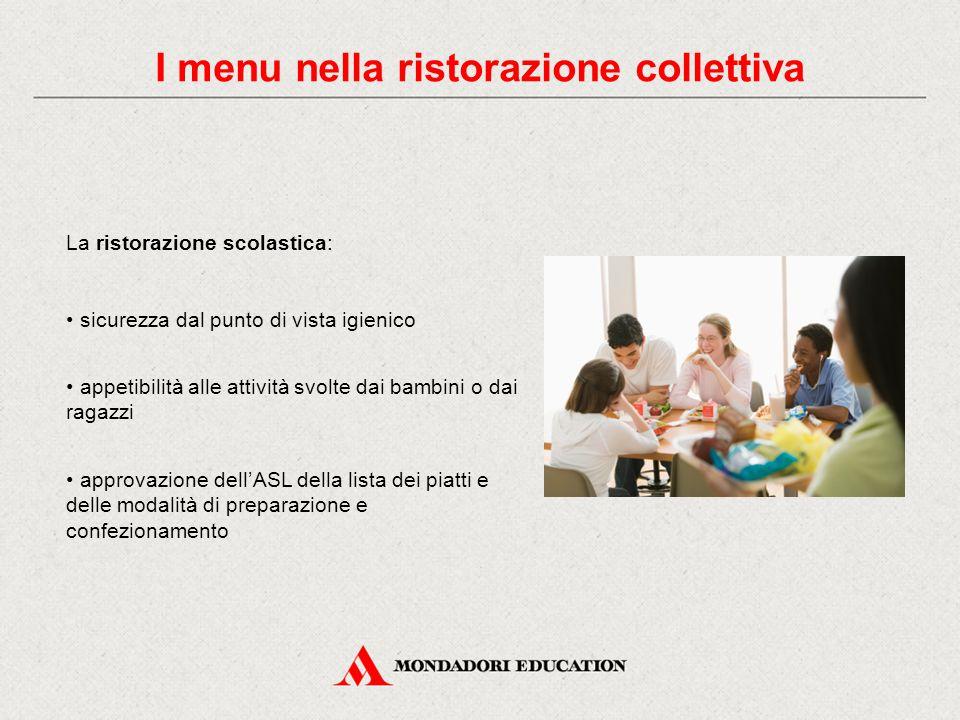 I menu nella ristorazione collettiva La ristorazione scolastica: sicurezza dal punto di vista igienico appetibilità alle attività svolte dai bambini o