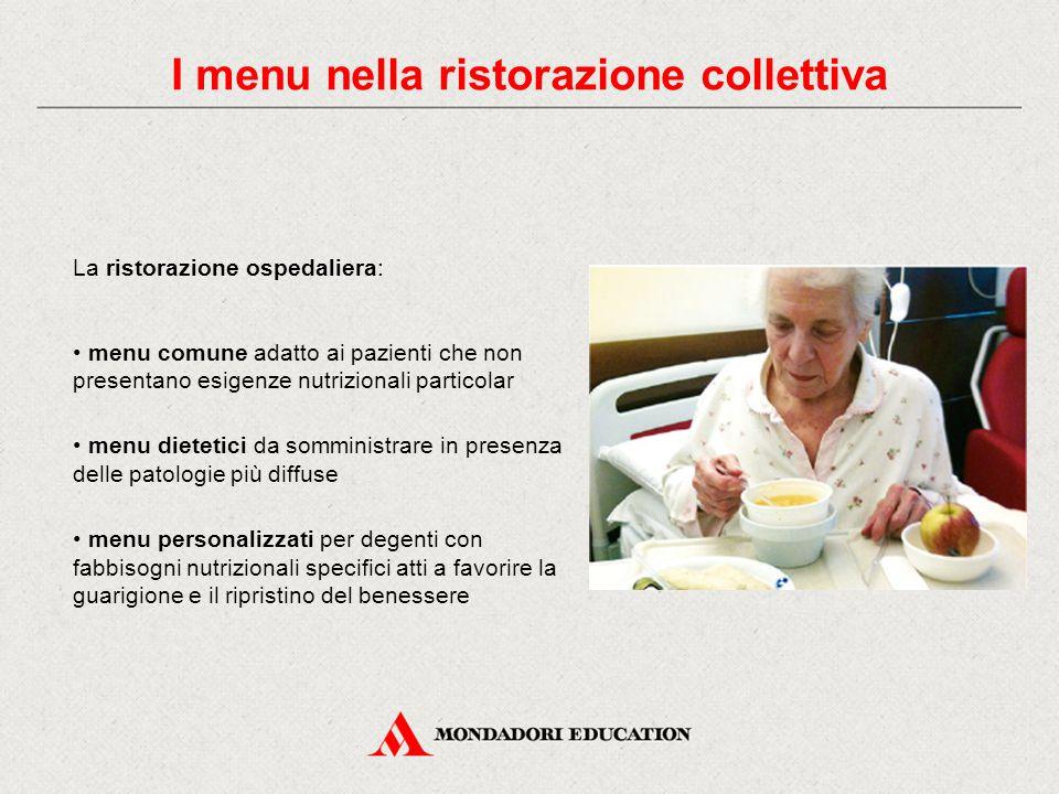 I menu nella ristorazione collettiva La ristorazione aziendale: I menu della ristorazione aziendale devono prevedere diete bilanciate in relazione all'attività lavorativa svolta dagli utenti