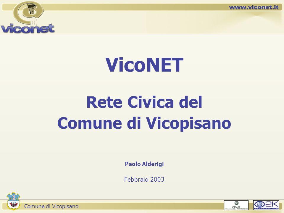 Comune di Vicopisano VicoNET Rete Civica del Comune di Vicopisano Paolo Alderigi Febbraio 2003