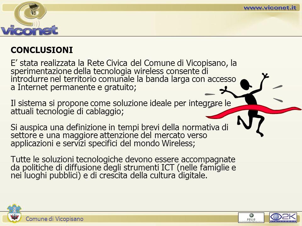 Comune di Vicopisano CONCLUSIONI E' stata realizzata la Rete Civica del Comune di Vicopisano, la sperimentazione della tecnologia wireless consente di