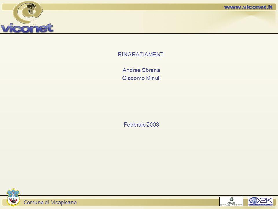 Comune di Vicopisano RINGRAZIAMENTI Andrea Sbrana Giacomo Minuti Febbraio 2003