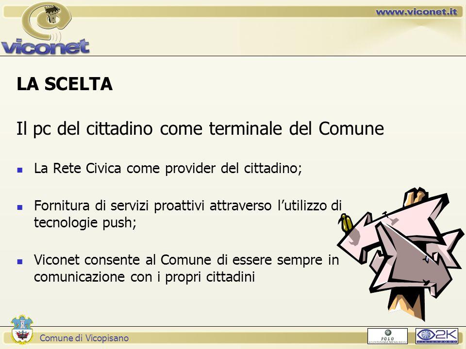 Comune di Vicopisano LA SCELTA Il pc del cittadino come terminale del Comune La Rete Civica come provider del cittadino; Fornitura di servizi proattiv