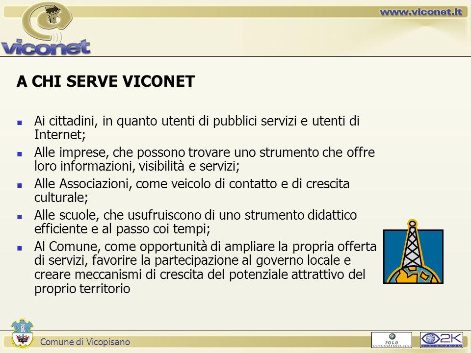 Comune di Vicopisano A CHI SERVE VICONET Ai cittadini, in quanto utenti di pubblici servizi e utenti di Internet; Alle imprese, che possono trovare un
