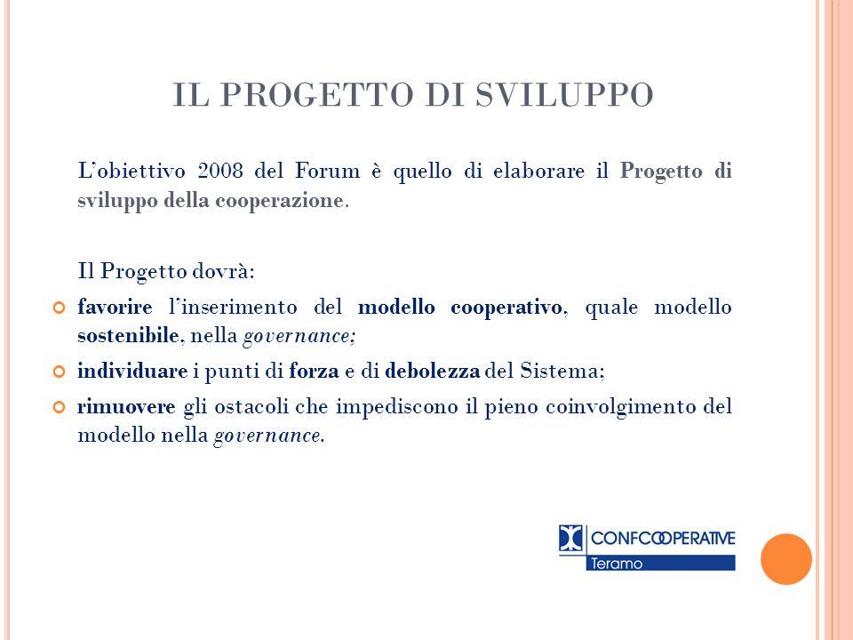 IL PROGETTO DI SVILUPPO L'obiettivo 2008 del Forum è quello di elaborare il Progetto di sviluppo della cooperazione. Il Progetto dovrà: favorire l'ins