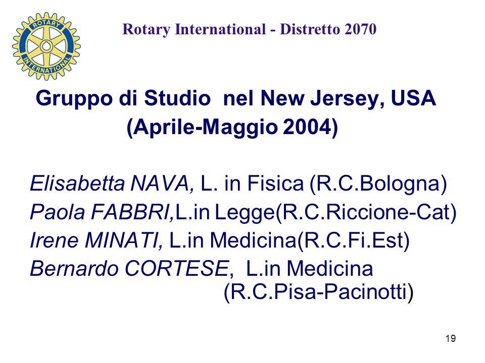 19 Gruppo di Studio nel New Jersey, USA (Aprile-Maggio 2004) Elisabetta NAVA, L.