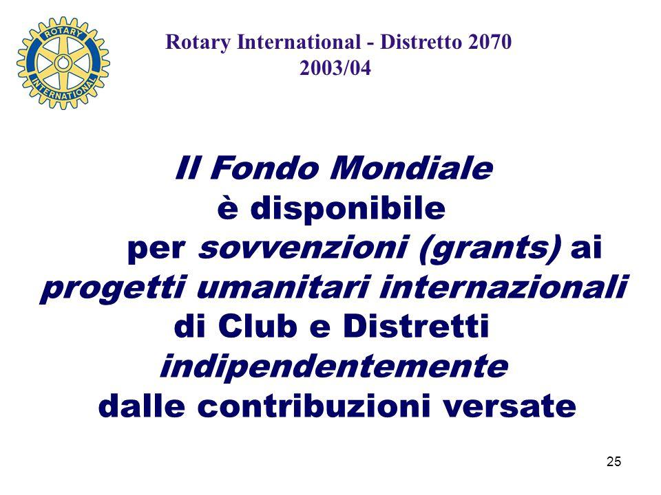 25 Rotary International - Distretto 2070 2003/04 Il Fondo Mondiale è disponibile per sovvenzioni (grants) ai progetti umanitari internazionali di Club e Distretti indipendentemente dalle contribuzioni versate