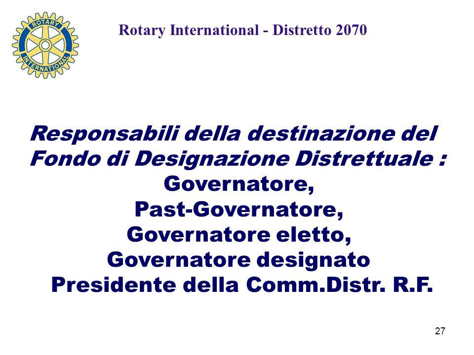27 Rotary International - Distretto 2070 Responsabili della destinazione del Fondo di Designazione Distrettuale : Governatore, Past-Governatore, Governatore eletto, Governatore designato Presidente della Comm.Distr.