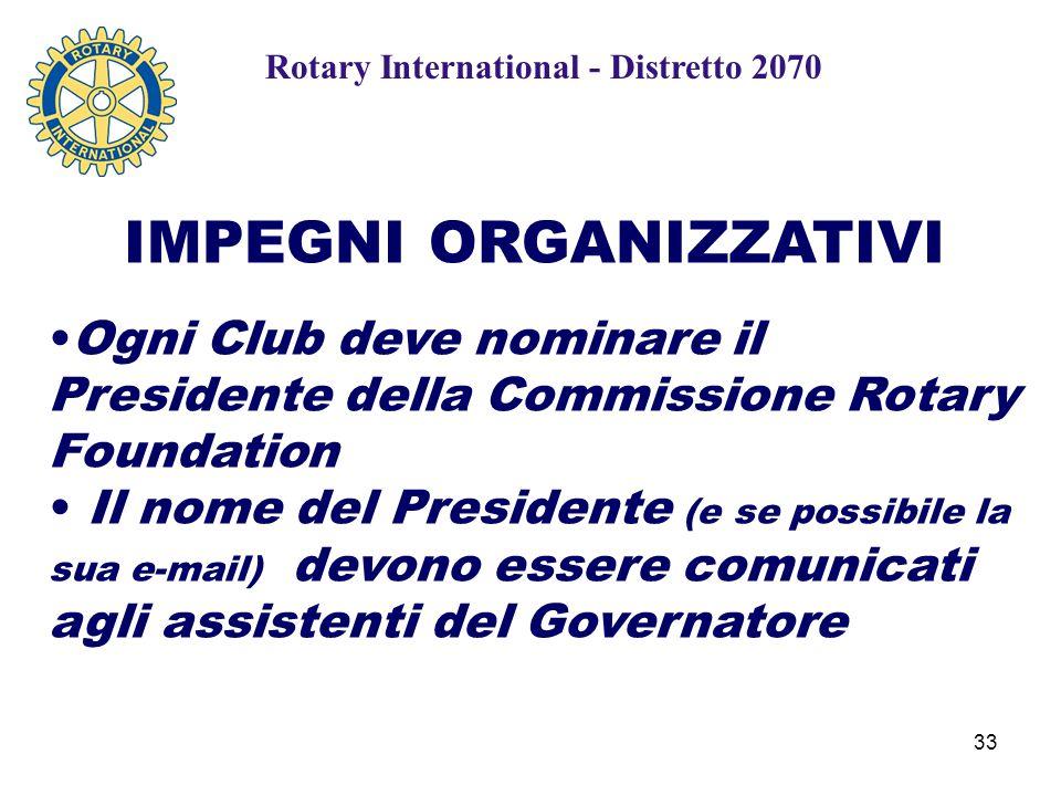 33 IMPEGNI ORGANIZZATIVI Ogni Club deve nominare il Presidente della Commissione Rotary Foundation Il nome del Presidente (e se possibile la sua e-mail) devono essere comunicati agli assistenti del Governatore Rotary International - Distretto 2070