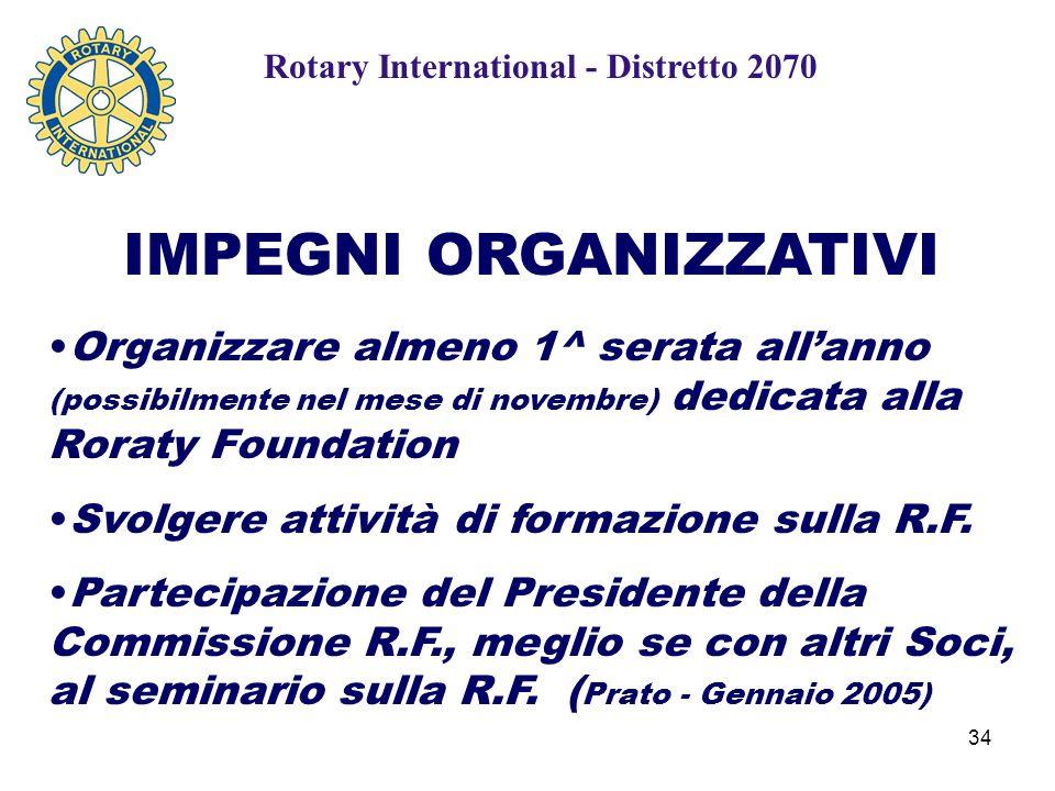 34 IMPEGNI ORGANIZZATIVI Organizzare almeno 1^ serata all'anno (possibilmente nel mese di novembre) dedicata alla Roraty Foundation Svolgere attività di formazione sulla R.F.