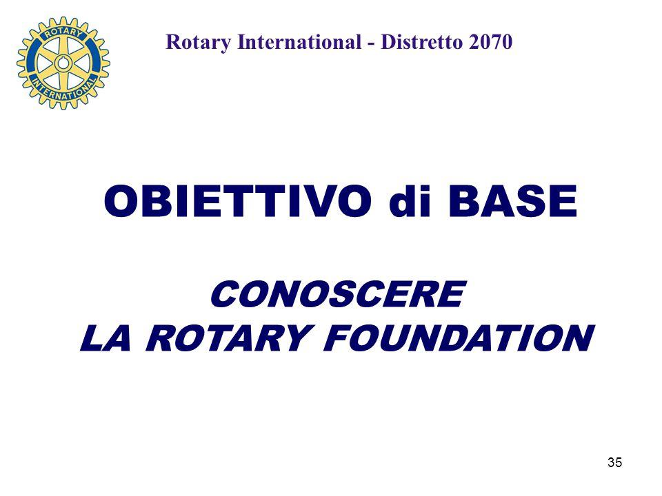 35 OBIETTIVO di BASE CONOSCERE LA ROTARY FOUNDATION Rotary International - Distretto 2070