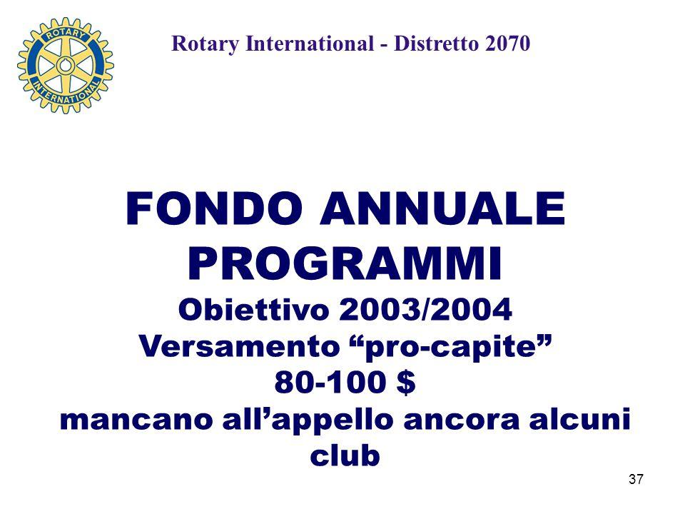 37 FONDO ANNUALE PROGRAMMI Obiettivo 2003/2004 Versamento pro-capite 80-100 $ mancano all'appello ancora alcuni club Rotary International - Distretto 2070