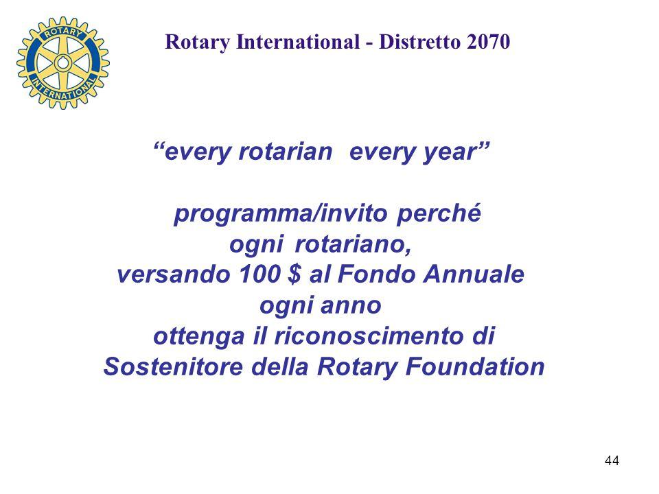 44 every rotarian every year programma/invito perché ogni rotariano, versando 100 $ al Fondo Annuale ogni anno ottenga il riconoscimento di Sostenitore della Rotary Foundation Rotary International - Distretto 2070