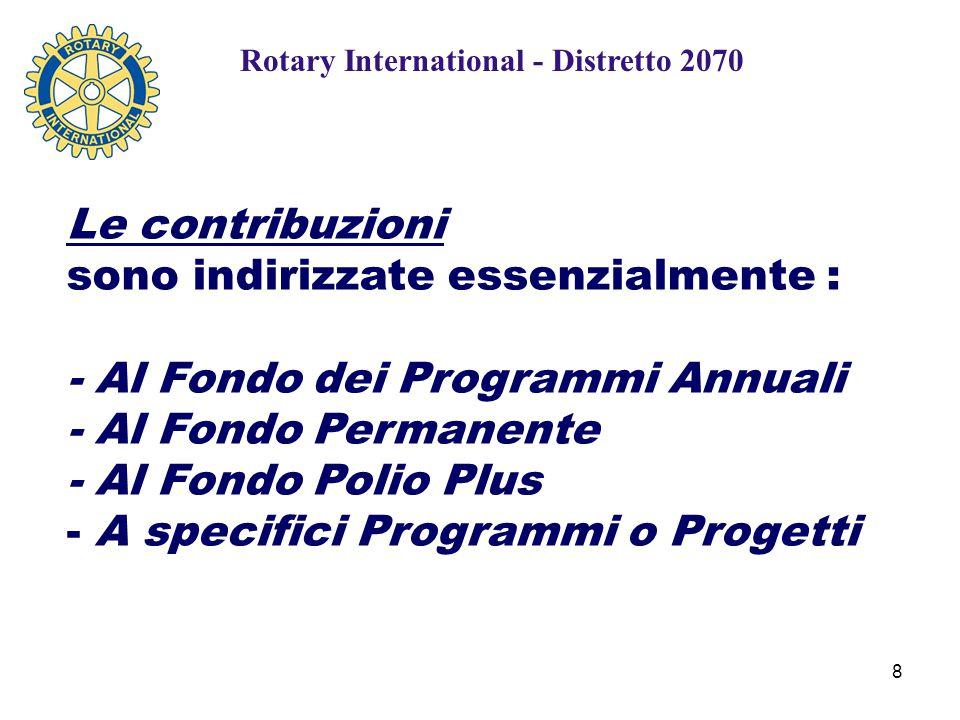 8 Le contribuzioni sono indirizzate essenzialmente : - Al Fondo dei Programmi Annuali - Al Fondo Permanente - Al Fondo Polio Plus - A specifici Programmi o Progetti Rotary International - Distretto 2070