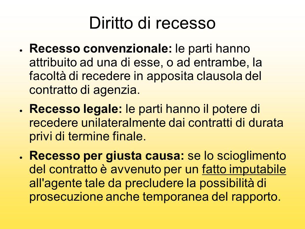 Diritto di recesso ● Recesso convenzionale: le parti hanno attribuito ad una di esse, o ad entrambe, la facoltà di recedere in apposita clausola del c