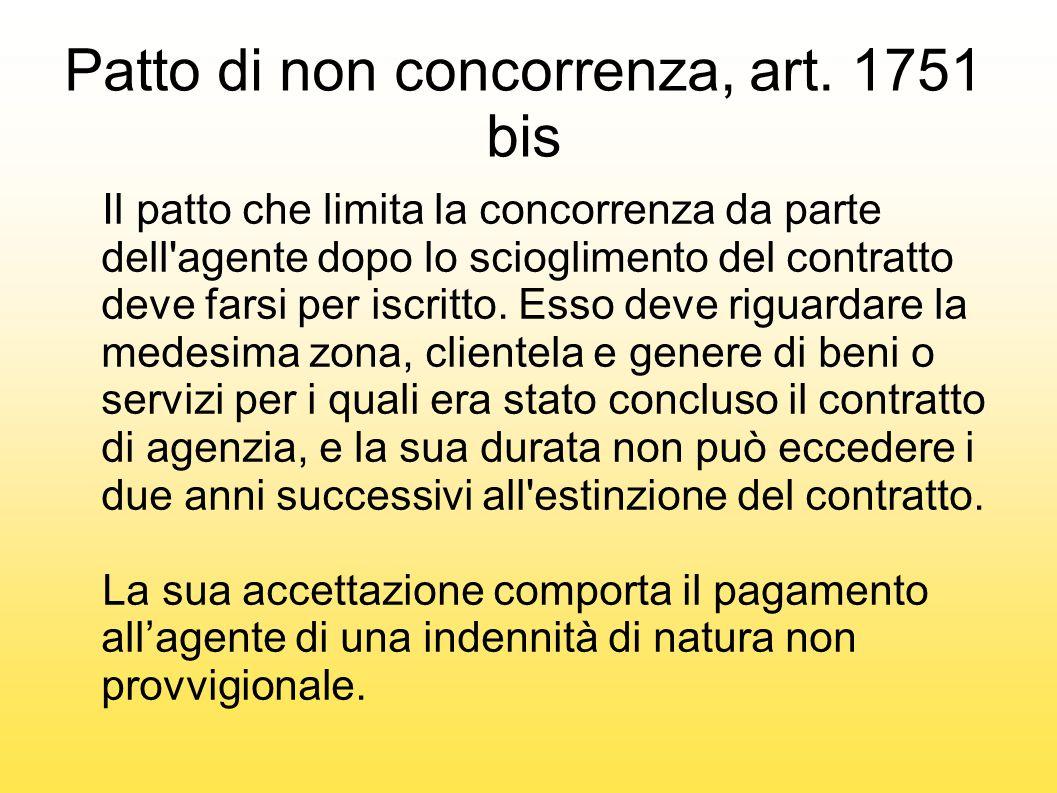 Patto di non concorrenza, art. 1751 bis Il patto che limita la concorrenza da parte dell'agente dopo lo scioglimento del contratto deve farsi per iscr