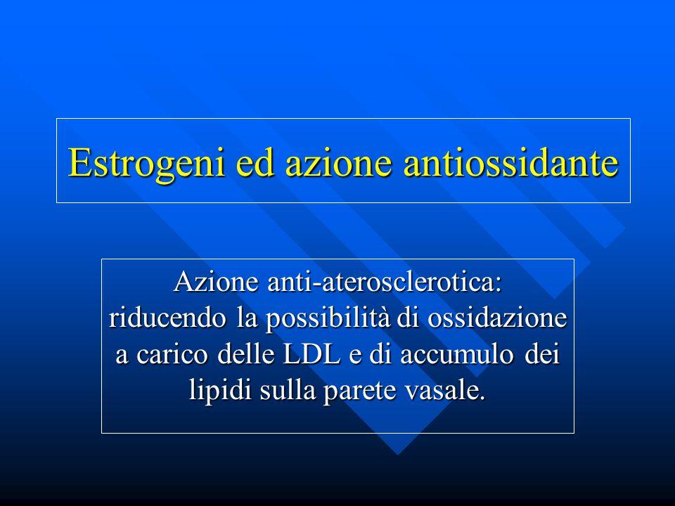 Estrogeni ed azione antiossidante Azione anti-aterosclerotica: riducendo la possibilità di ossidazione a carico delle LDL e di accumulo dei lipidi sul