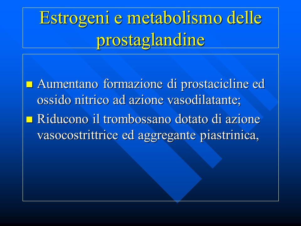 Estrogeni e metabolismo delle prostaglandine Aumentano formazione di prostacicline ed ossido nitrico ad azione vasodilatante; Aumentano formazione di