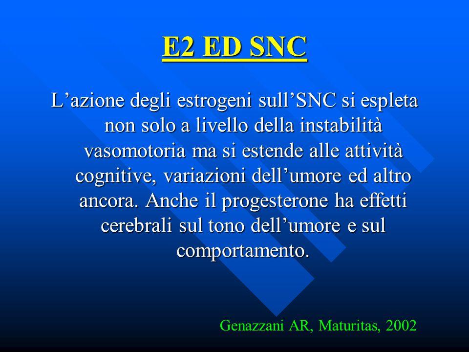 E2 ED SNC L'azione degli estrogeni sull'SNC si espleta non solo a livello della instabilità vasomotoria ma si estende alle attività cognitive, variazi