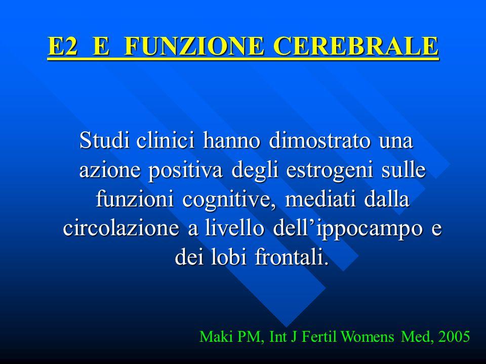 E2 E FUNZIONE CEREBRALE Studi clinici hanno dimostrato una azione positiva degli estrogeni sulle funzioni cognitive, mediati dalla circolazione a live