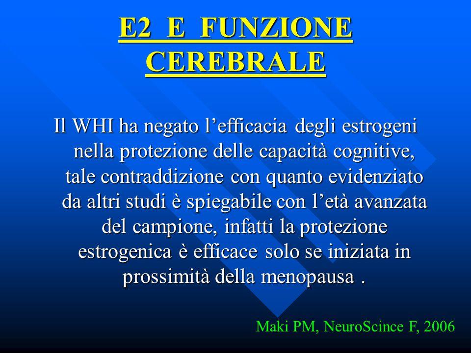 E2 E FUNZIONE CEREBRALE Il WHI ha negato l'efficacia degli estrogeni nella protezione delle capacità cognitive, tale contraddizione con quanto evidenz