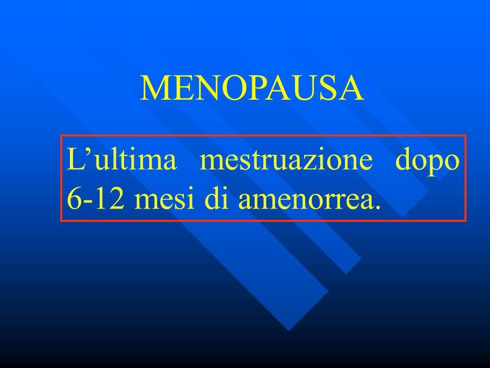L'ultima mestruazione dopo 6-12 mesi di amenorrea. MENOPAUSA