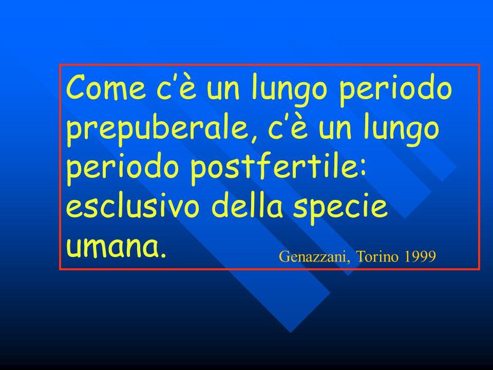 Come c'è un lungo periodo prepuberale, c'è un lungo periodo postfertile: esclusivo della specie umana. Genazzani, Torino 1999