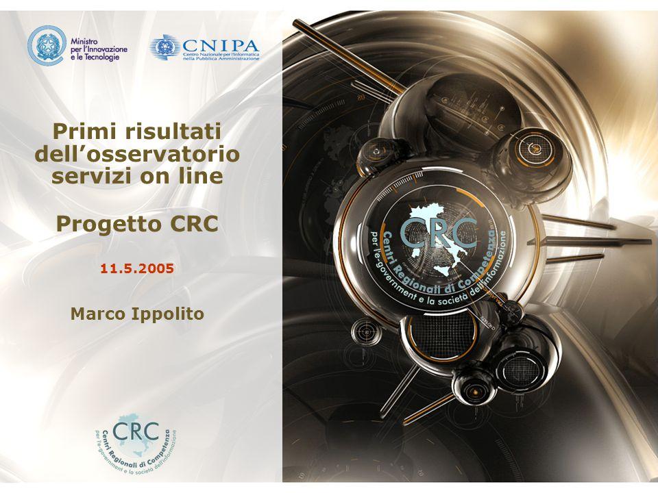 Osservatorio Servizi On Line CRC 21/03/2005 1Osservatorio CRC Primi risultati dell'osservatorio servizi on line Progetto CRC 11.5.2005 Marco Ippolito