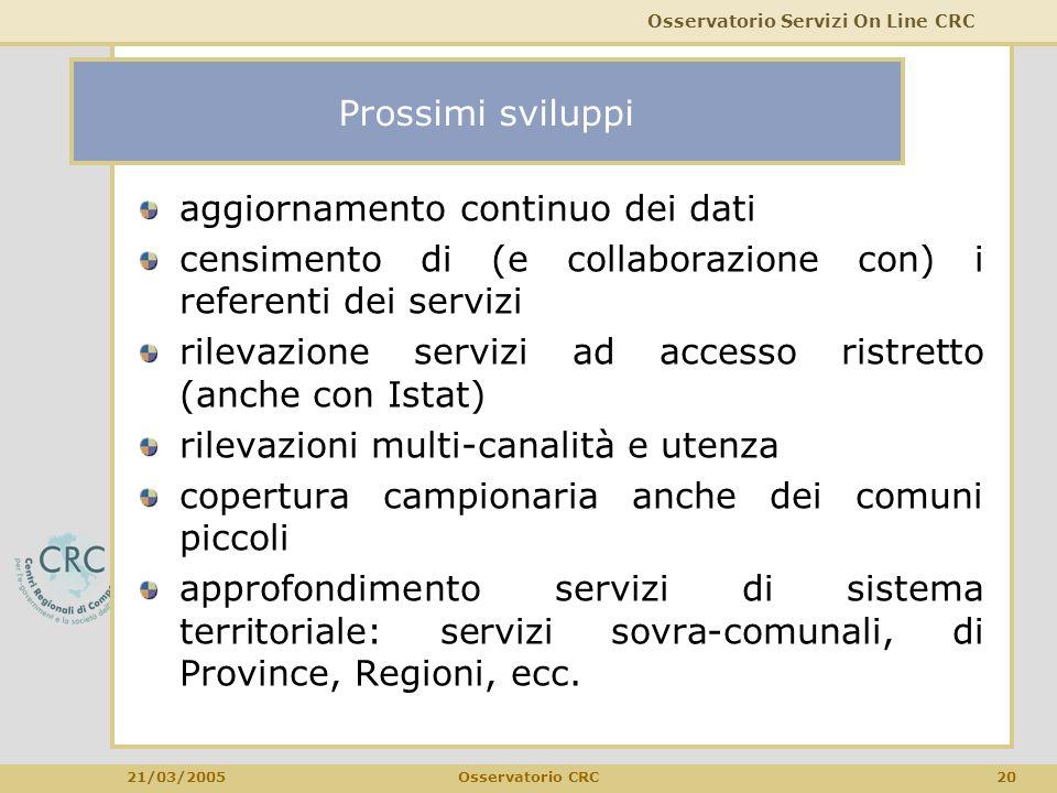 Osservatorio Servizi On Line CRC 21/03/2005 20Osservatorio CRC Prossimi sviluppi aggiornamento continuo dei dati censimento di (e collaborazione con)