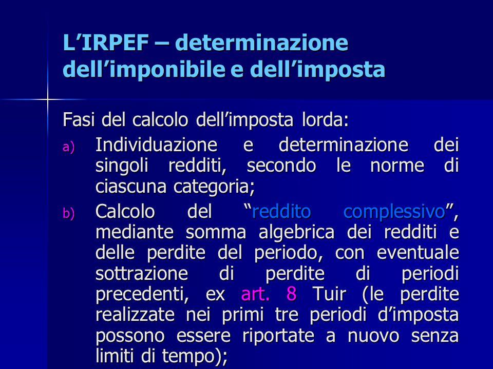 L'IRPEF – determinazione dell'imponibile e dell'imposta Fasi del calcolo dell'imposta lorda: a) Individuazione e determinazione dei singoli redditi, s