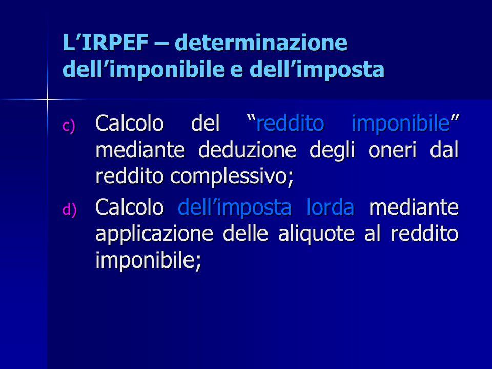"""L'IRPEF – determinazione dell'imponibile e dell'imposta c) Calcolo del """"reddito imponibile"""" mediante deduzione degli oneri dal reddito complessivo; d)"""