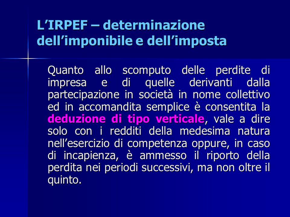 L'IRPEF – determinazione dell'imponibile e dell'imposta Quanto allo scomputo delle perdite di impresa e di quelle derivanti dalla partecipazione in so