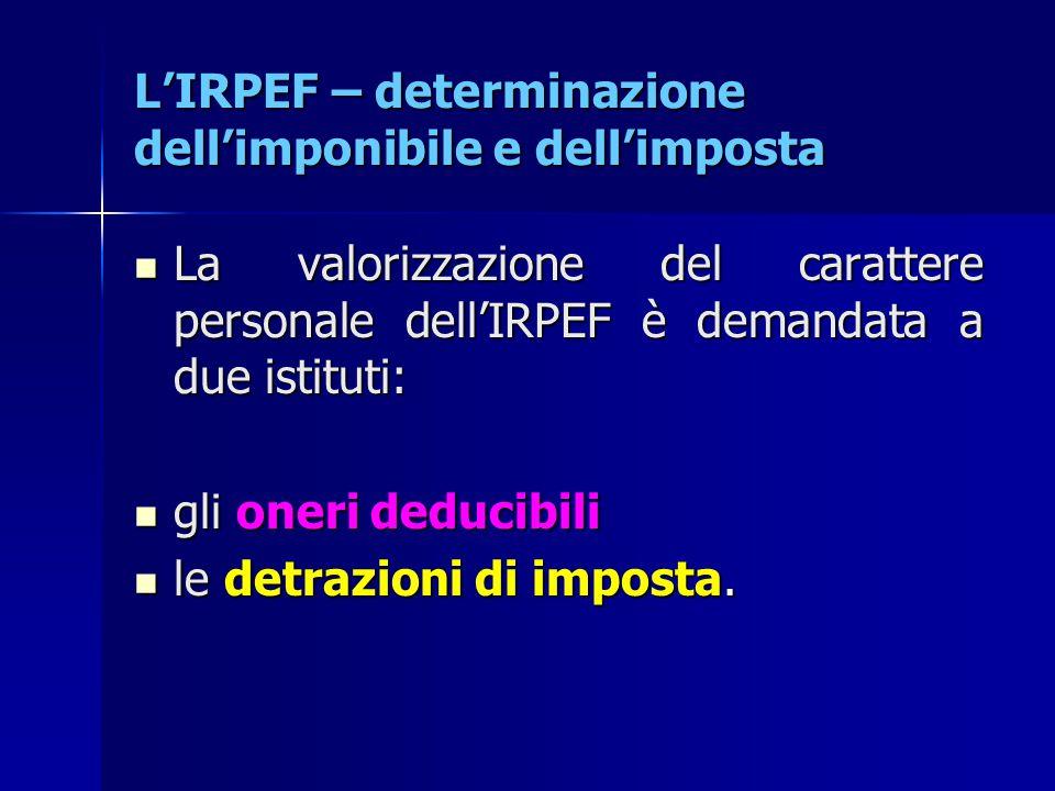 L'IRPEF – determinazione dell'imponibile e dell'imposta La valorizzazione del carattere personale dell'IRPEF è demandata a due istituti: La valorizzaz