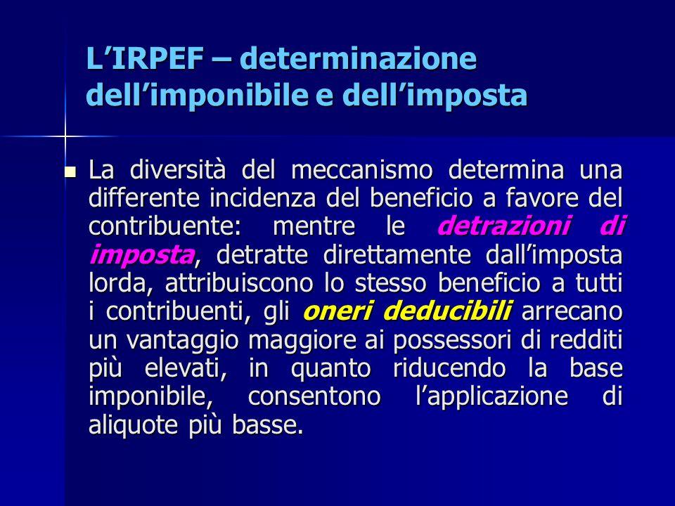 L'IRPEF – determinazione dell'imponibile e dell'imposta La diversità del meccanismo determina una differente incidenza del beneficio a favore del cont