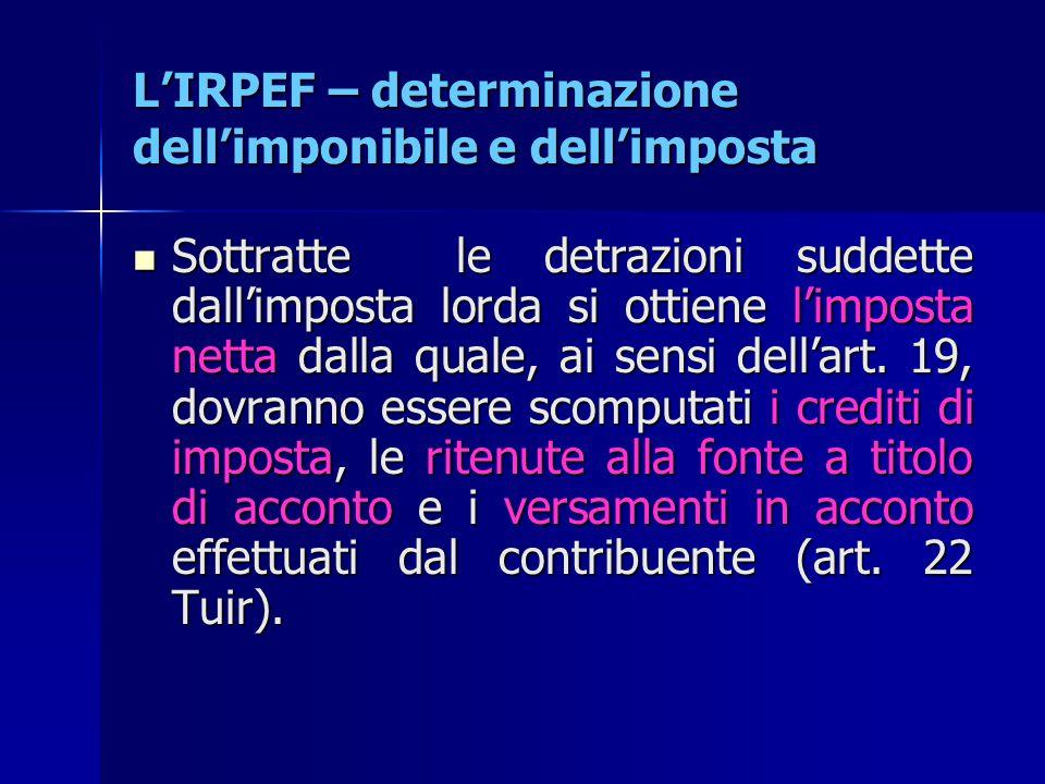 L'IRPEF – determinazione dell'imponibile e dell'imposta Sottratte le detrazioni suddette dall'imposta lorda si ottiene l'imposta netta dalla quale, ai