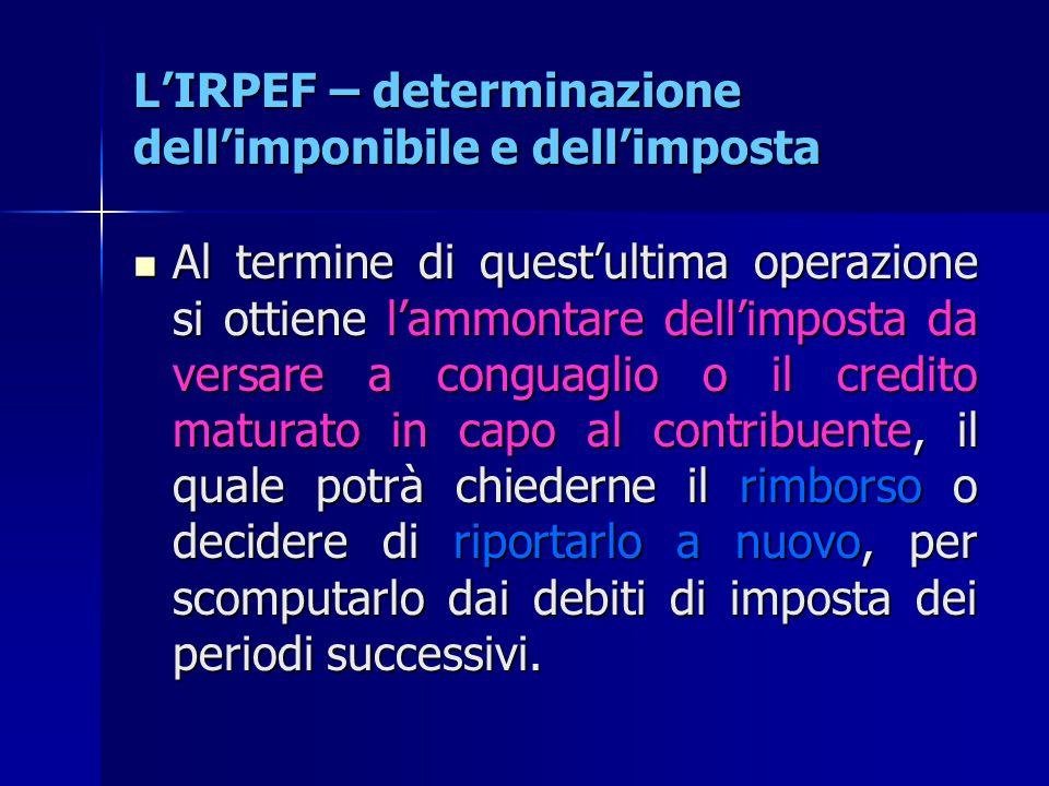 L'IRPEF – determinazione dell'imponibile e dell'imposta Al termine di quest'ultima operazione si ottiene l'ammontare dell'imposta da versare a conguag
