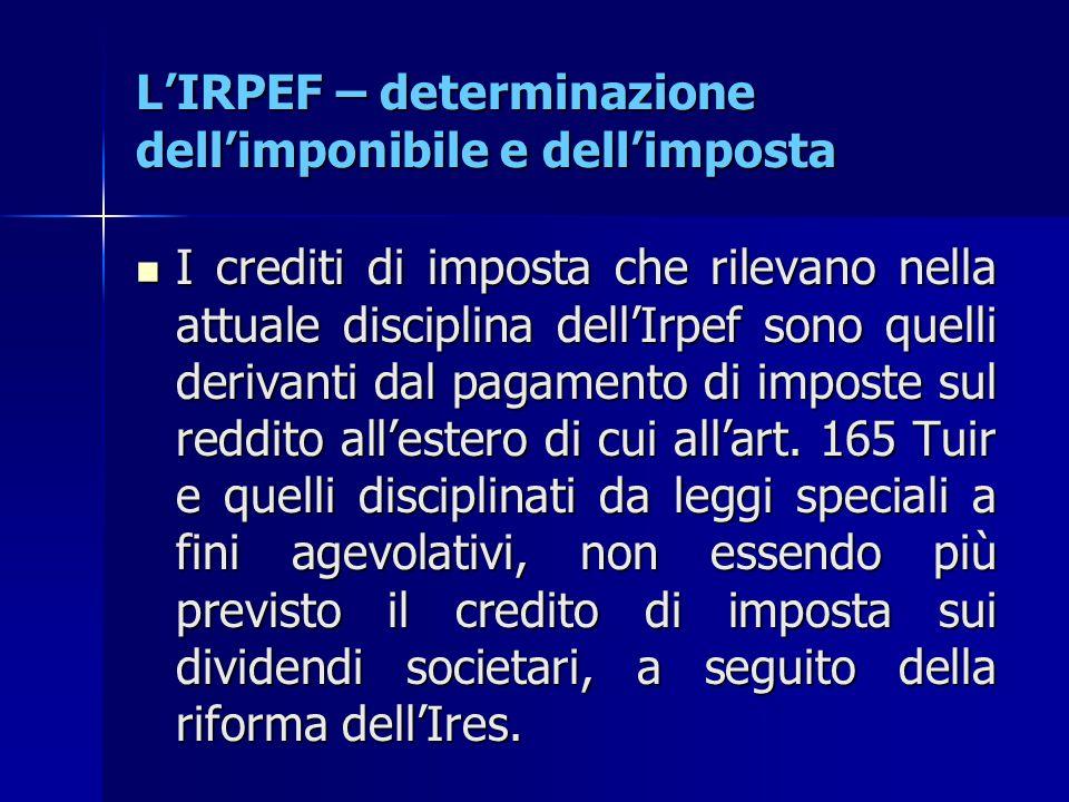 L'IRPEF – determinazione dell'imponibile e dell'imposta I crediti di imposta che rilevano nella attuale disciplina dell'Irpef sono quelli derivanti da