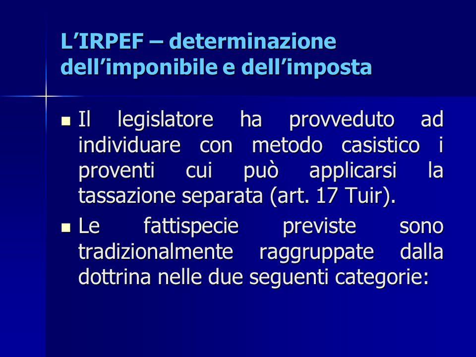 L'IRPEF – determinazione dell'imponibile e dell'imposta Il legislatore ha provveduto ad individuare con metodo casistico i proventi cui può applicarsi