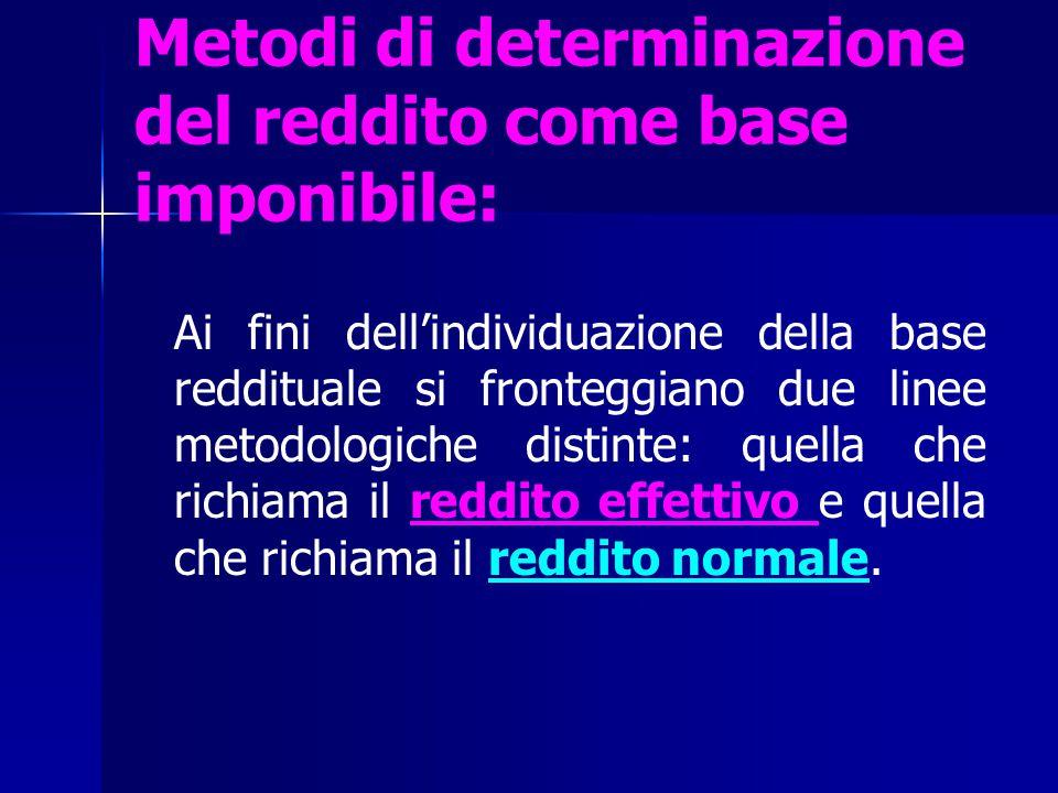 Metodi di determinazione del reddito come base imponibile: Ai fini dell'individuazione della base reddituale si fronteggiano due linee metodologiche d