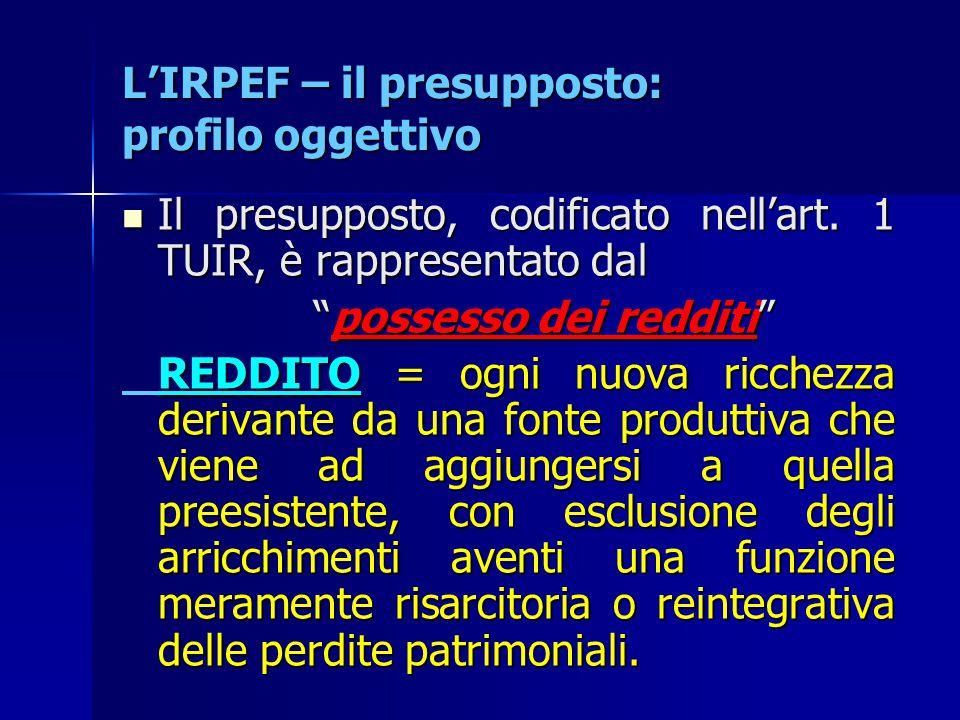 L'IRPEF – il presupposto: profilo oggettivo Il presupposto, codificato nell'art. 1 TUIR, è rappresentato dal Il presupposto, codificato nell'art. 1 TU
