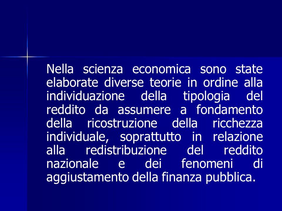 Nella scienza economica sono state elaborate diverse teorie in ordine alla individuazione della tipologia del reddito da assumere a fondamento della r