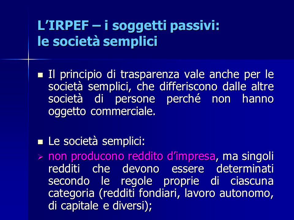 L'IRPEF – i soggetti passivi: le società semplici Il principio di trasparenza vale anche per le società semplici, che differiscono dalle altre società