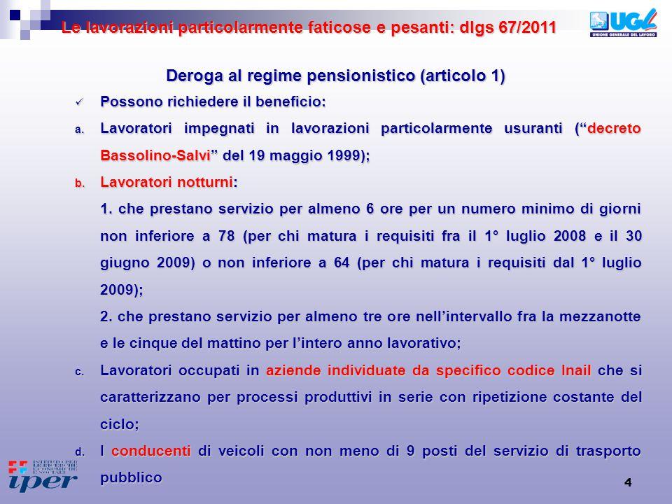 4 Deroga al regime pensionistico (articolo 1) Possono richiedere il beneficio: Possono richiedere il beneficio: a.