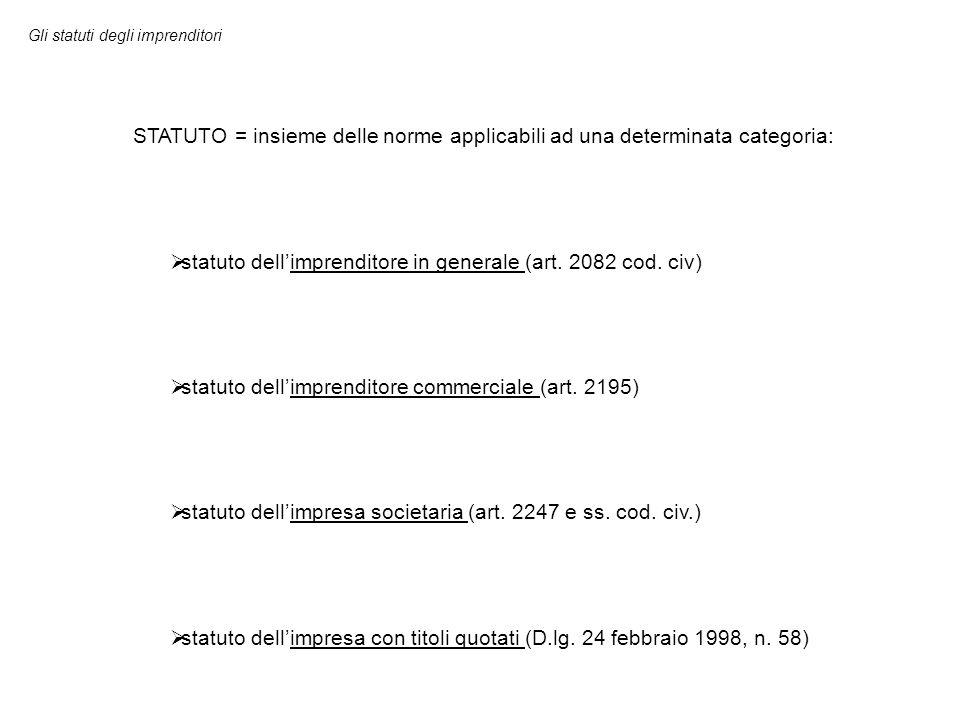 Gli statuti degli imprenditori STATUTO = insieme delle norme applicabili ad una determinata categoria:  statuto dell'imprenditore in generale (art. 2