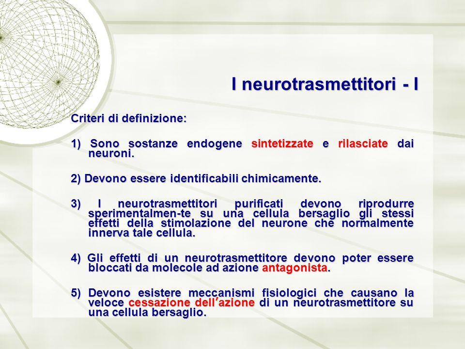 I neurotrasmettitori - I Criteri di definizione: 1) Sono sostanze endogene sintetizzate e rilasciate dai neuroni. 2) Devono essere identificabili chim