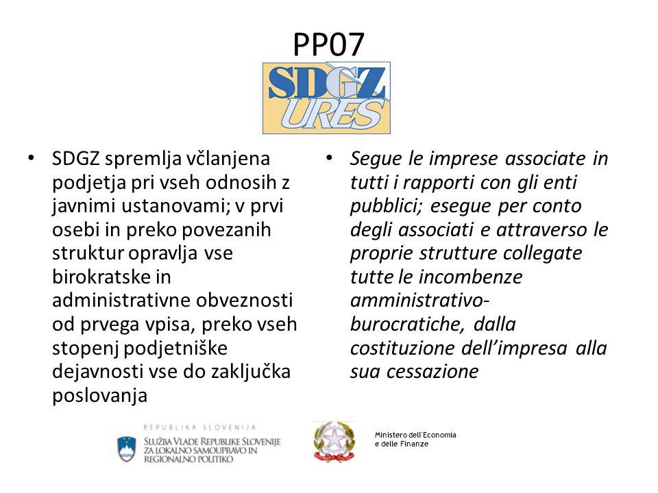 PP07 SDGZ spremlja včlanjena podjetja pri vseh odnosih z javnimi ustanovami; v prvi osebi in preko povezanih struktur opravlja vse birokratske in admi