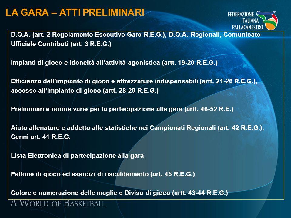 LA GARA – ATTI PRELIMINARI D.O.A. (art. 2 Regolamento Esecutivo Gare R.E.G.), D.O.A. Regionali, Comunicato Ufficiale Contributi (art. 3 R.E.G.) Impian
