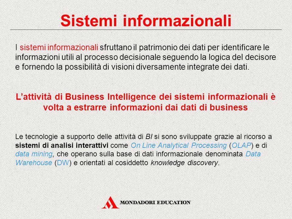 Sistemi informazionali I sistemi informazionali sfruttano il patrimonio dei dati per identificare le informazioni utili al processo decisionale seguendo la logica del decisore e fornendo la possibilità di visioni diversamente integrate dei dati.